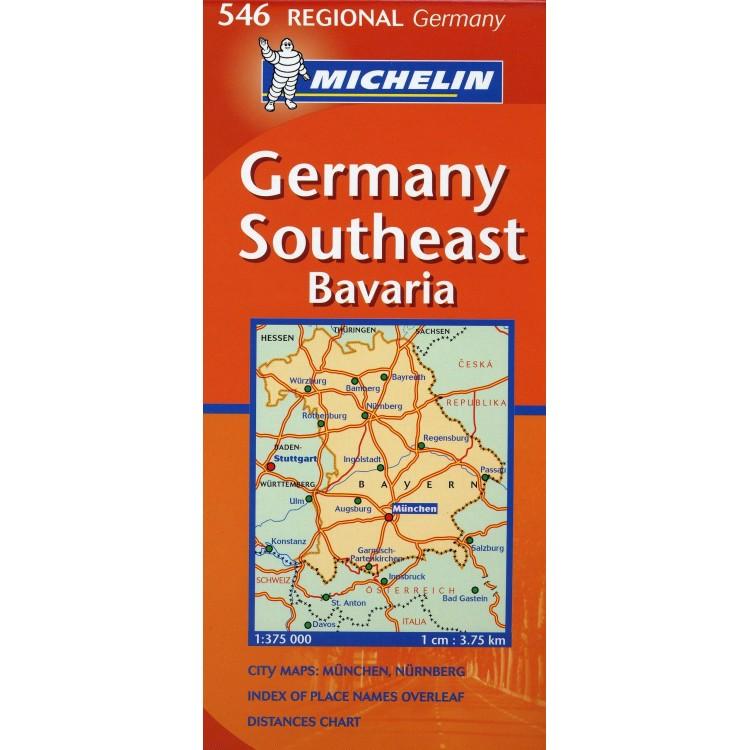 Χάρτης Νοτιοανατολικής Γερμανίας Michelin road map 1:375.000