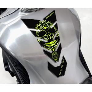 Tankpad One Design black edition skull 2 fluo κίτρινο μαύρο