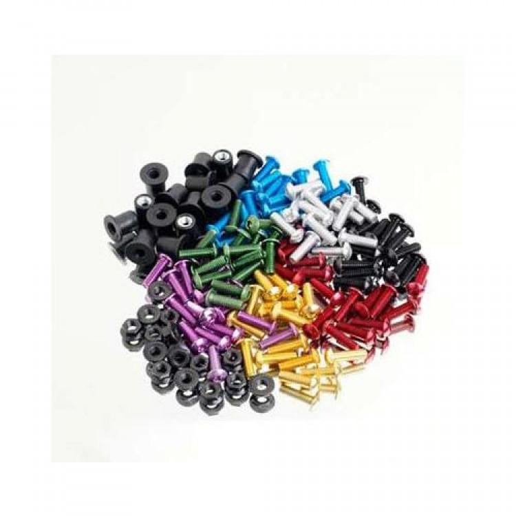 Σετ ανοδιωμένες βίδες- λαστιχο-παξιμάδια αλουμινίου M5x16 (χρώματα)