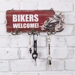 """Κρεμάστρα τοίχου 6 θέσεων ρετρό """"Bikers Welcome"""""""