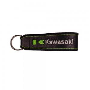 Μπρελόκ δερματίνη με λογότυπο Kawasaki μαύρο - λευκό - πράσινο