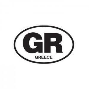 Αυτοκόλλητο GR οβάλ λευκό 12x8cm μεγάλο