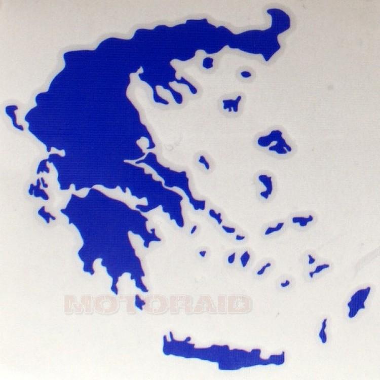 Αυτοκόλλητο ανάγλυφο χάρτης Ελλάδος 12 x 12cm μπλε