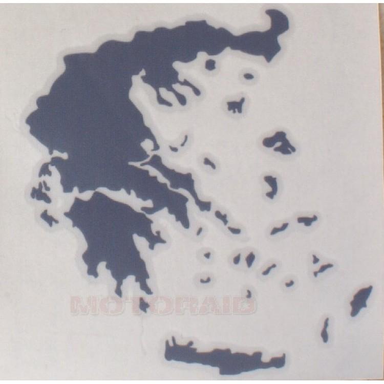 Αυτοκόλλητο ανάγλυφο χάρτης Ελλάδος 12 x 12cm γκρι