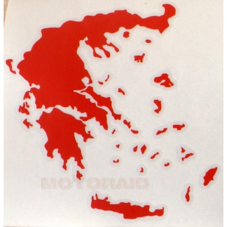 Αυτοκόλλητο ανάγλυφο χάρτης Ελλάδος 12 x 12 cm κόκκινο