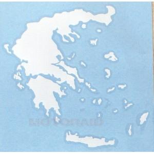 Αυτοκόλλητο ανάγλυφο χάρτης Ελλάδος 12 x 12cm λευκό