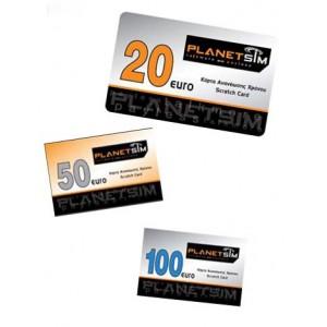 Κάρτα ανανέωσης χρόνου ομιλίας PlanetSIM (εκδόσεις)