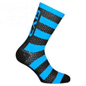 """Κάλτσες SIX2 """"Luxury"""" carbon merino κοντές μαύρο-γαλάζιο"""