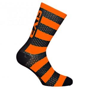 """Κάλτσες SIX2 """"Luxury"""" carbon merino κοντές μαύρο-πορτοκαλί"""