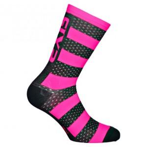 """Κάλτσες SIX2 """"Luxury"""" carbon merino κοντές μαυρο-ροζ"""