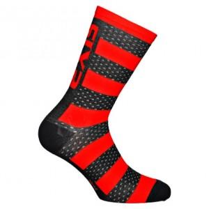 """Κάλτσες SIX2 """"Luxury"""" carbon merino κοντές μαυρο-κόκκινο"""