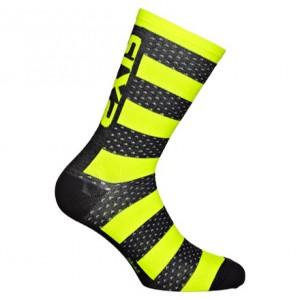 """Κάλτσες SIX2 """"Luxury"""" carbon merino κοντές μαυρο-κίτρινο"""