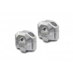 Αποστάτες SW-Motech 20mm για τιμόνια Ø22mm ασημί